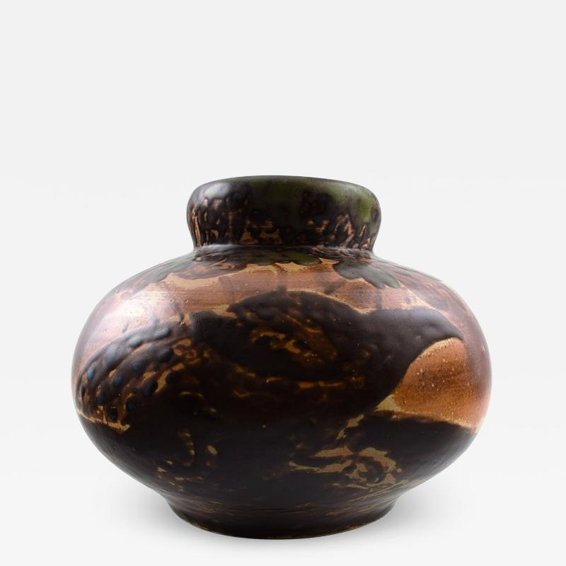 Knud Kyhn Large ceramic vase decorated with birds