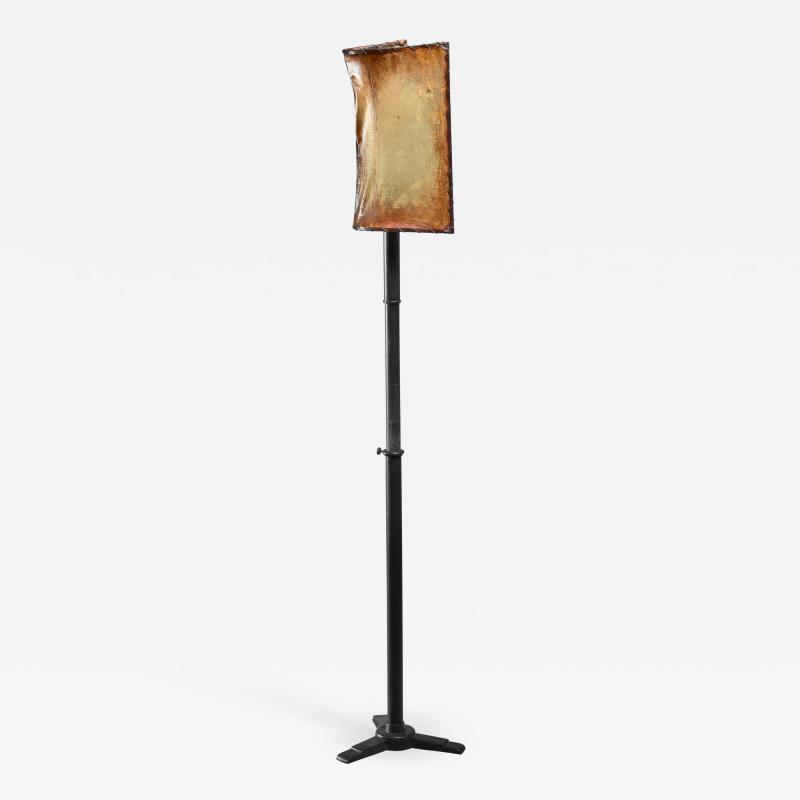 Knut Hallgren Knut Hallgren bronze and leather floor lamp Sweden 1920s 30s