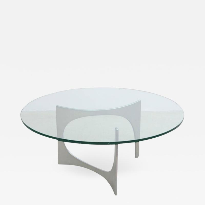 Knut Hesterberg Aluminum and Glass Coffee Table by Knut Hesterberg for Ronald Schmitt