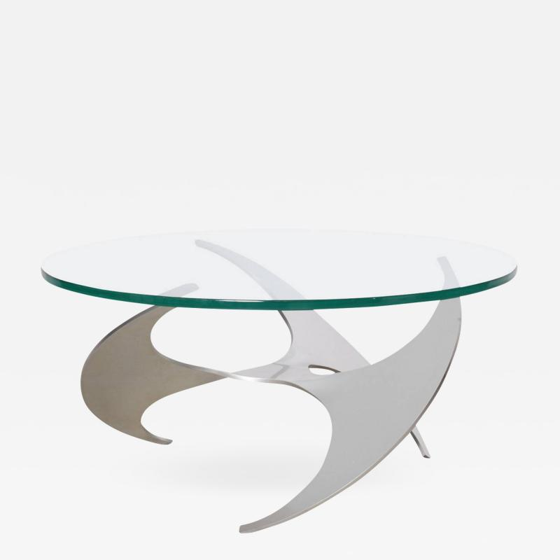 Knut Hesterberg Aluminum and Glass Propeller Coffee Table by Knut Hesterberg for Ronald Schmitt