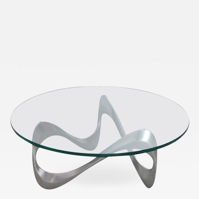 Knut Hesterberg Aluminum and Glass Snake Coffee Table by Knut Hesterberg for Ronald Schmitt