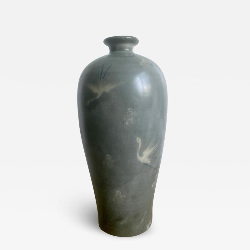 Korean Celadon Vase with Slip Inlay Goryeo Style