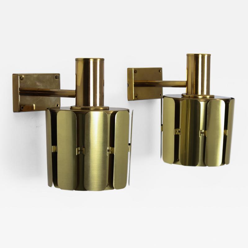 Kosthantverk Tyringe Pair of Swedish Midcentury Wall Lamps in Brass by Tyringe Konsthantverk 1960s
