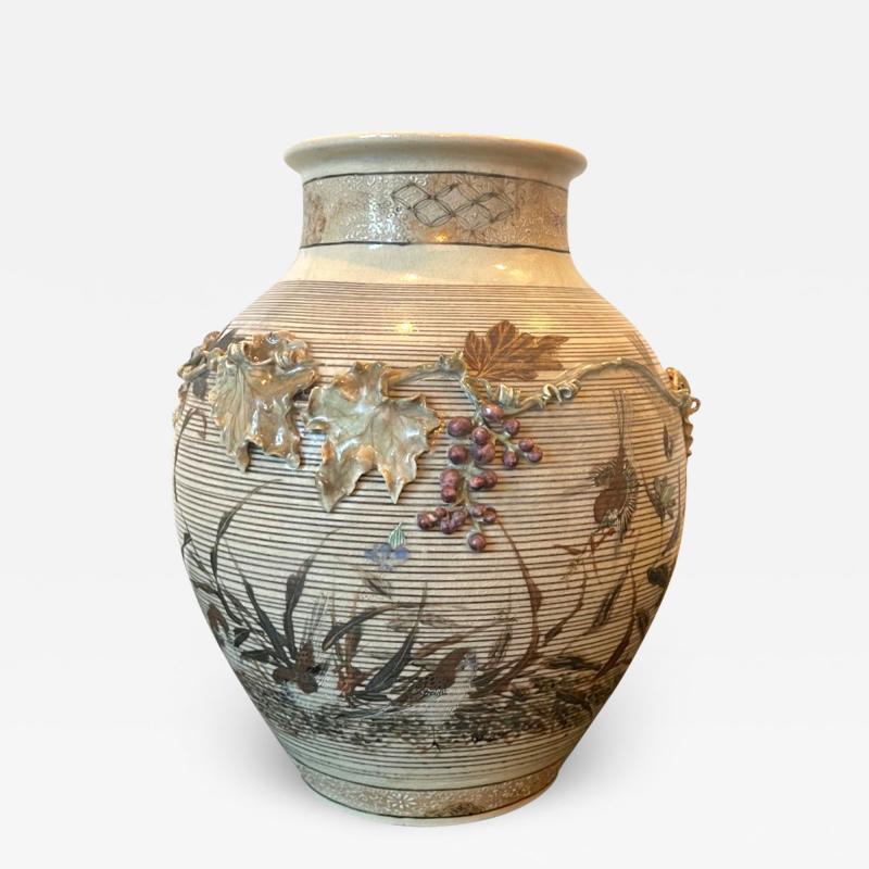 Kozan Makuzu Japanese Porcelain Vase with Relief Surface Makuzu Kozan