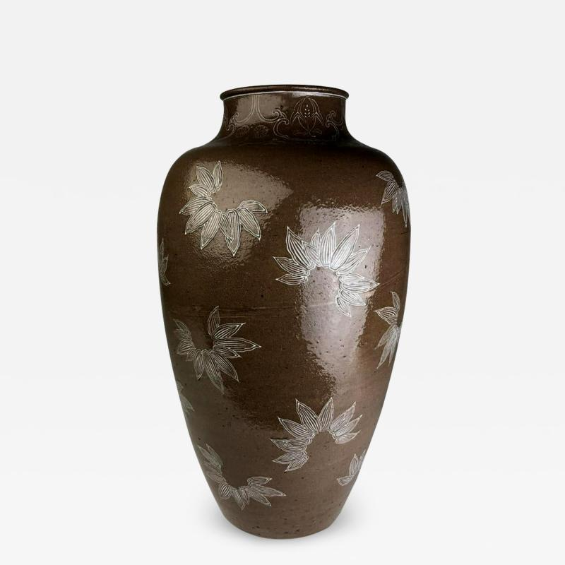 Kozan Makuzu Rare Large Vase with White Slip Inlay Makuzu Kozan Meiji Period