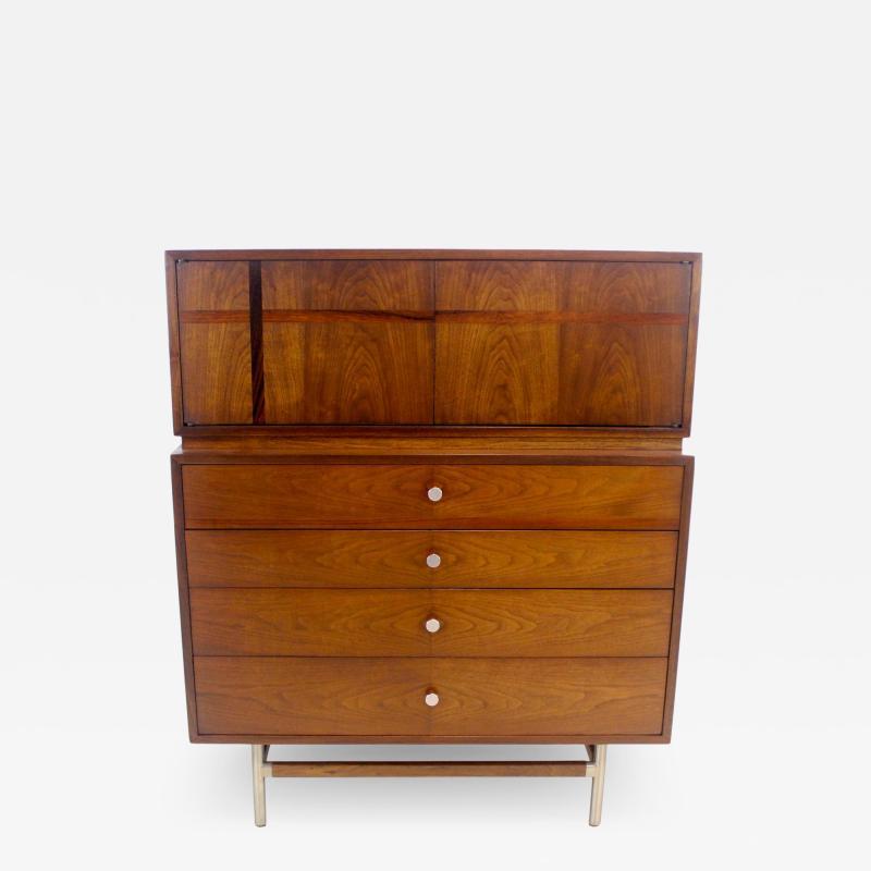 Kroehler Mfg Co Mid Century Modern Walnut Highboy Dresser