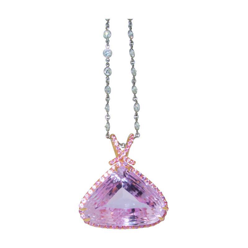 Kunzite and Diamond Necklace