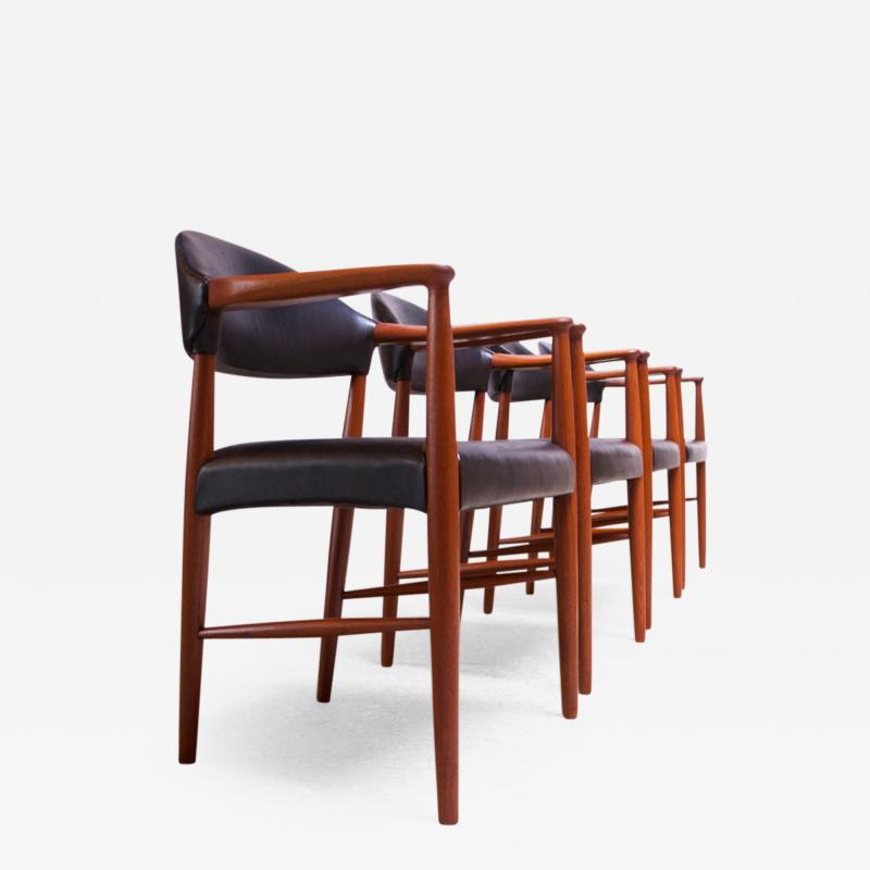 Kurt Olsen Set of Four Teak and Leather Armchairs by Kurt Olsen for Slagelse M belv rk