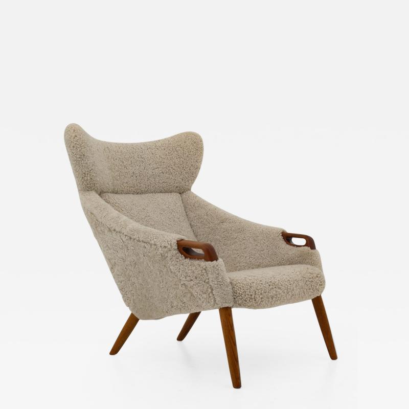 Kurt stervig Danish Lounge Chair in Sheepskin Model 55 by Kurt stervig