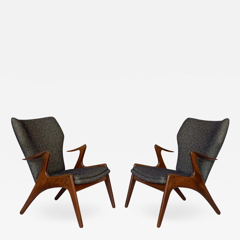 Kurt stervig Pair of Kurt Ostervig Sculptural Lounge Chairs