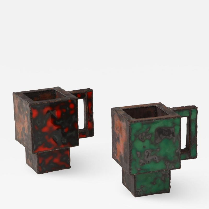Kwangho Lee Pair of Red Green Enameled Copper Mugs by Kwengho Lee