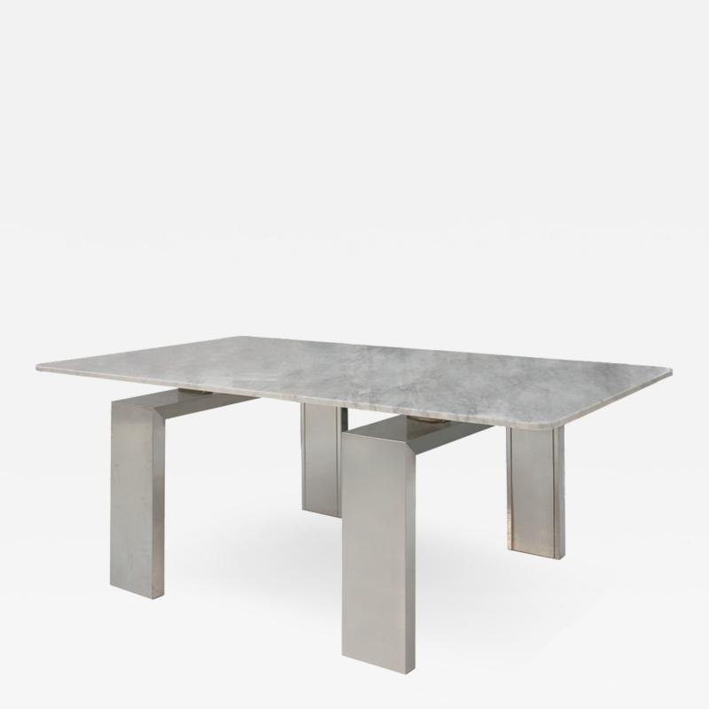 L A Studio In the Style of Midcentury L A Studio Marble and Steel French Table