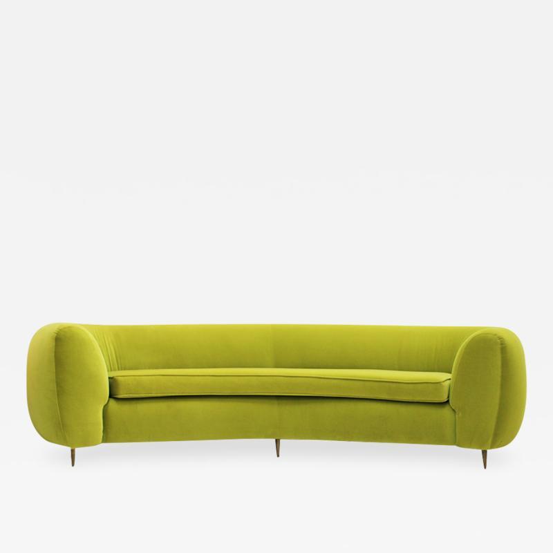 L A Studio L A Studio Contemporary Lime Cotton Velvet Curved Italian Sofa