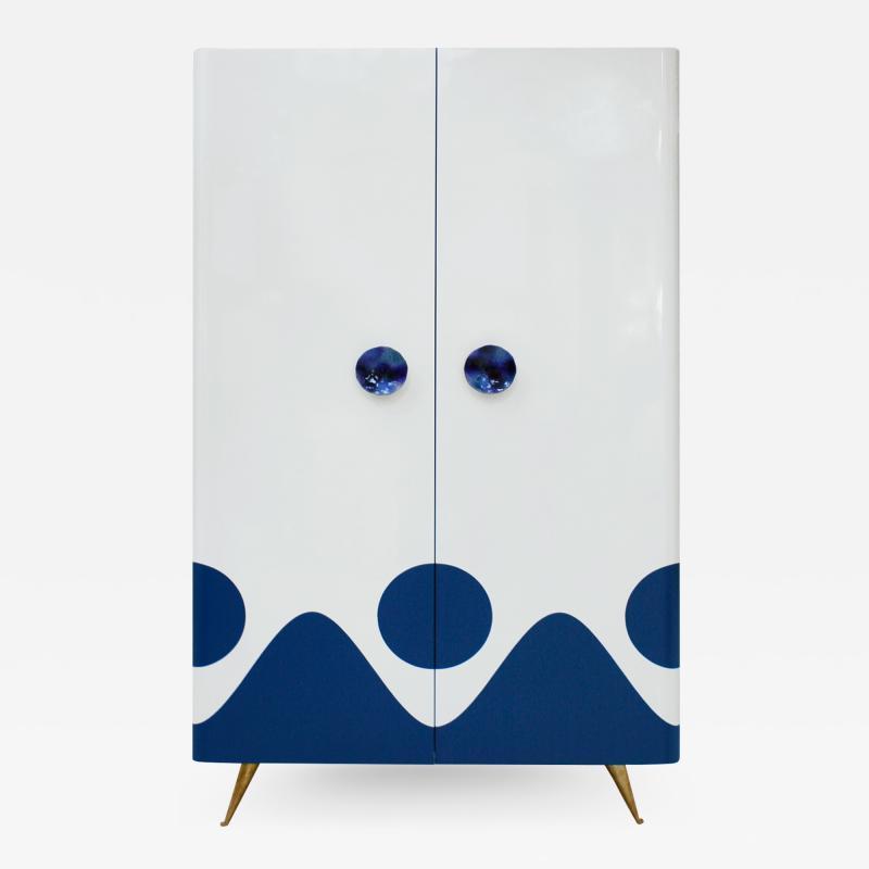 L A Studio L A Studio Lacquered White Wood Paolo De Poli Handles Italian Drinks Cabinet