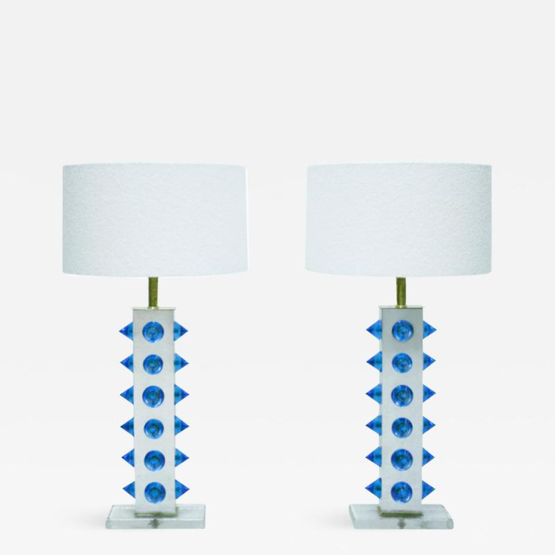 L A Studio Pair of Table Lamps With Colored Murano Glass