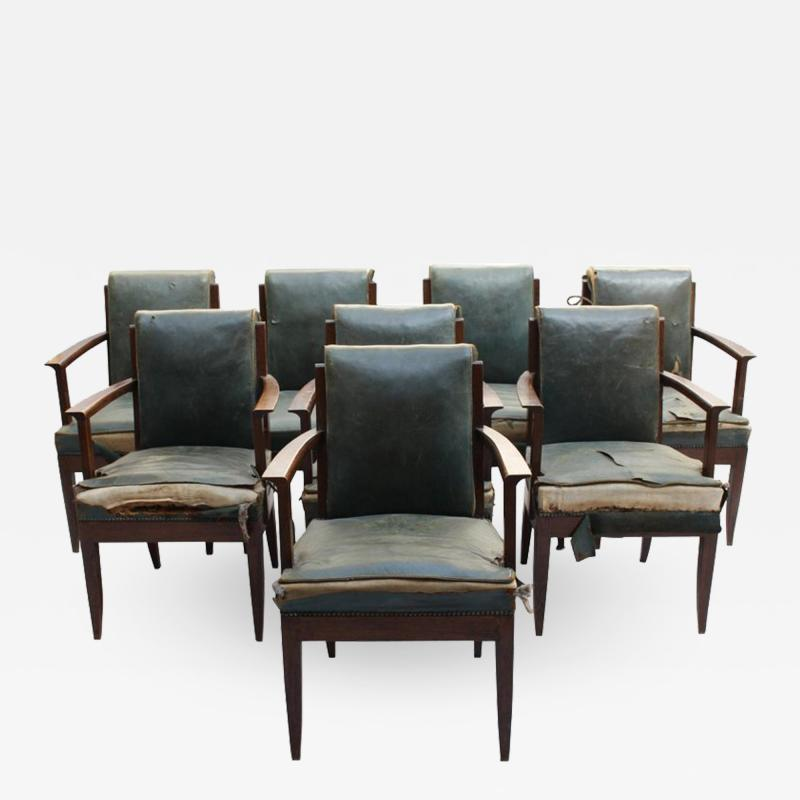 L on Jallot SET OF EIGHT FINE FRENCH ART DECO OAK ARMCHAIRS BY LEON AND MAURICE JALLOT