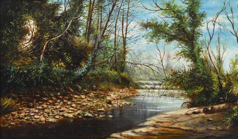 LANDSCAPE VIEW OF A RIVER WITH WATERFALLS