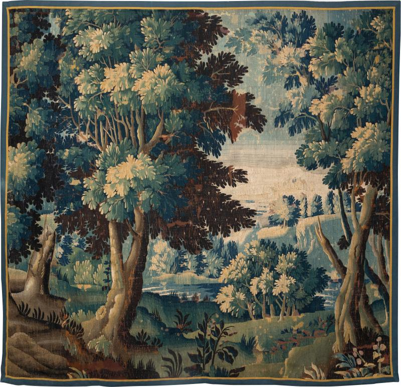 LATE 17th CENTURY AUBUSSON VERDURE TAPESTRY FRAGMENT