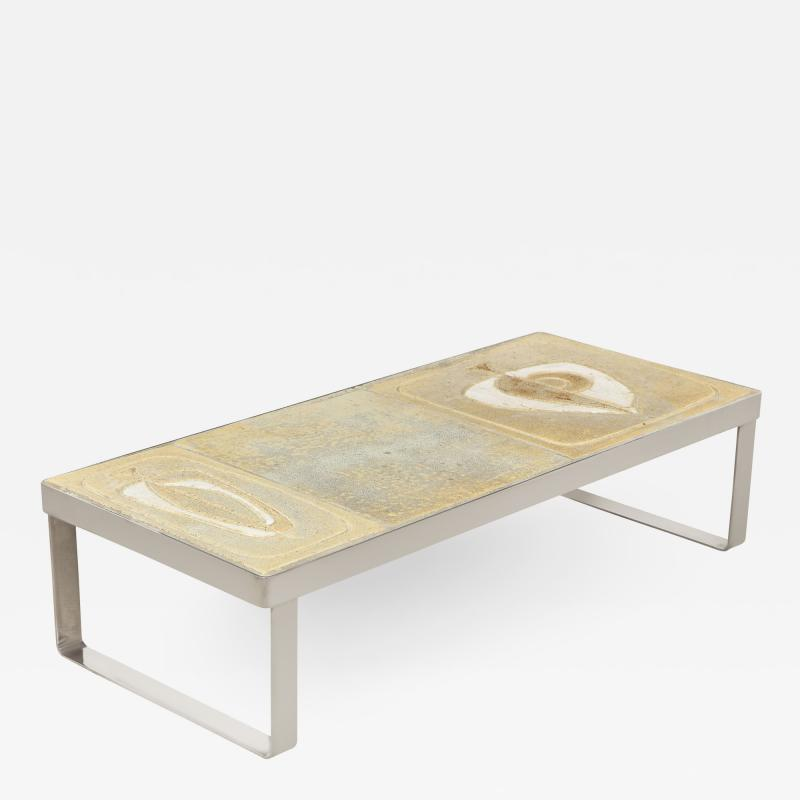 LOW TABLE WITH NICKEL BASE AND CERAMIC TOP