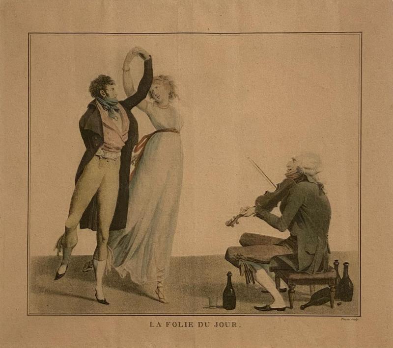 La Folie Du Jour Engraving France Circa 1797