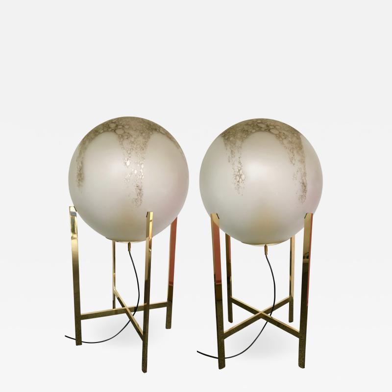 La Murrina Brass Floor Lamps by La Murrina Murano Glass Italy 1990s