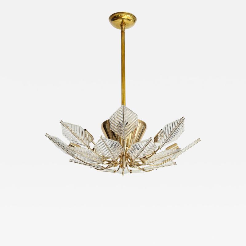 La Murrina Italian 15 Light Glass Chandelier Decorated with Leaf Motif La Murrina 1970s