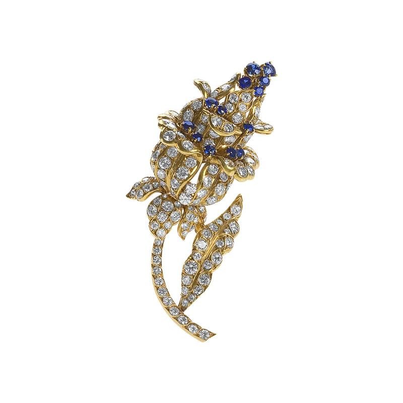 Lacloche Fr res LaCloche Paris Mid 20th Century Diamond Sapphire and Gold Flower Brooch