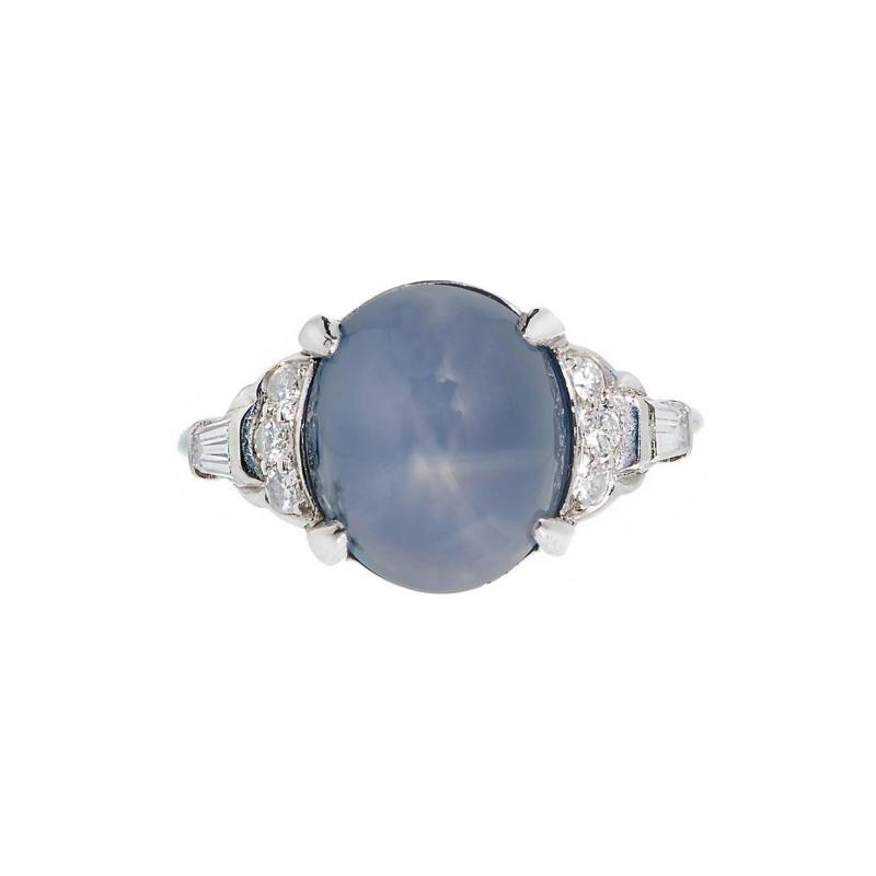 Lambert Brothers 9 80 Carat Star Sapphire Diamond Platinum Ring