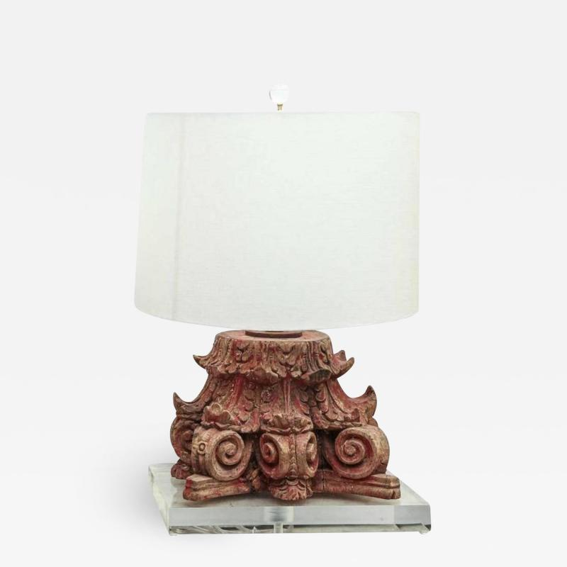 Lamp Fashioned from Carved Capital