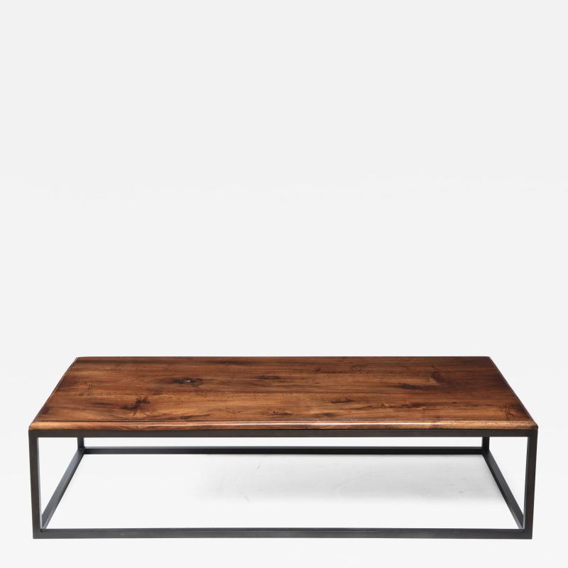 Lance Thompson 18th C Italian Thick Walnut Coffee Table Detailed Edge Solid Blackened Base