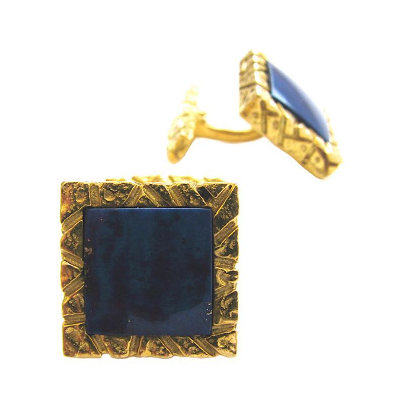 Lapis Lazuli and Gold Cufflinks c 1970