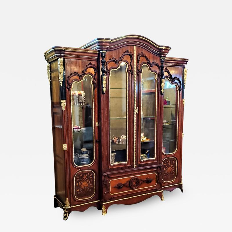 Large 19 Century French Rococo or Neoclassical Revival Style Vitrine