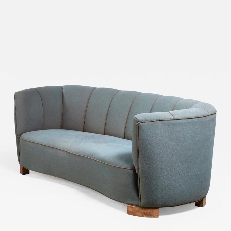 Large 1940s Danish sofa with petrol upholstery