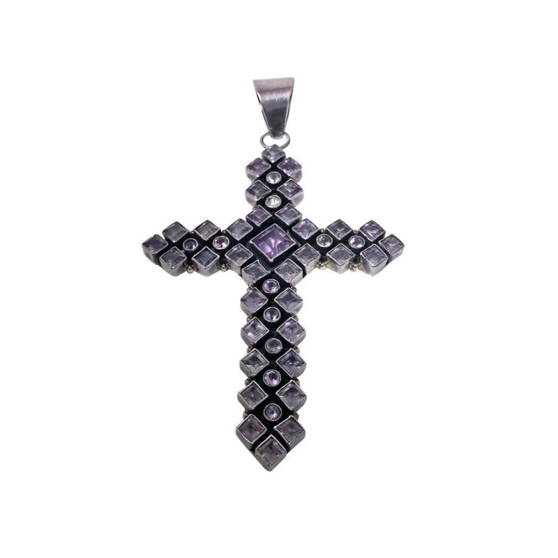 Large 1970s Vintage Sterling Silver Amethyst and Diamond Cross