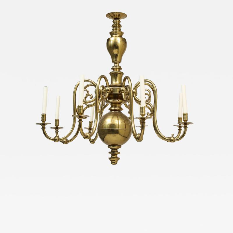 Large 19th c Dutch brass chandelier