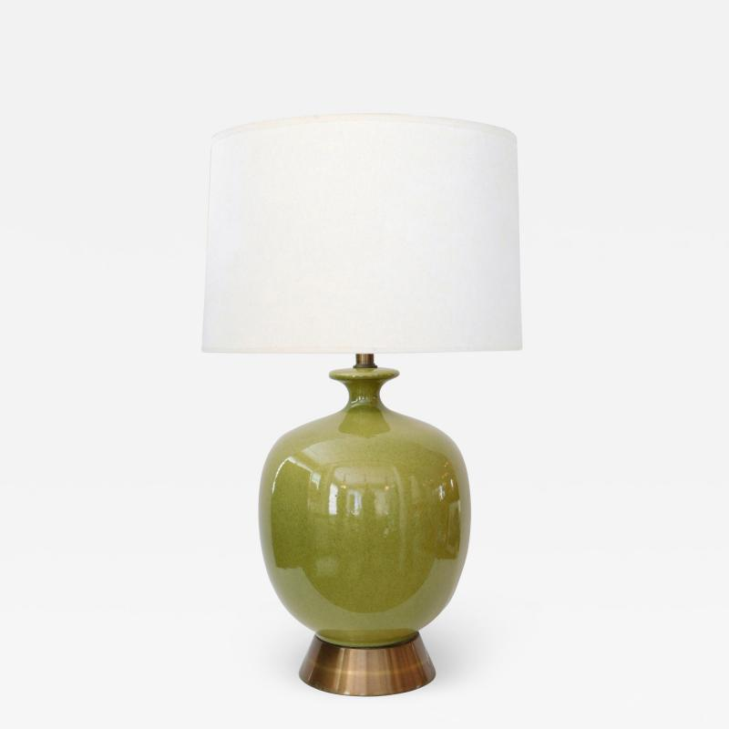 Large American 1960s Apple green Glazed Ceramic Ovoid form Lamp