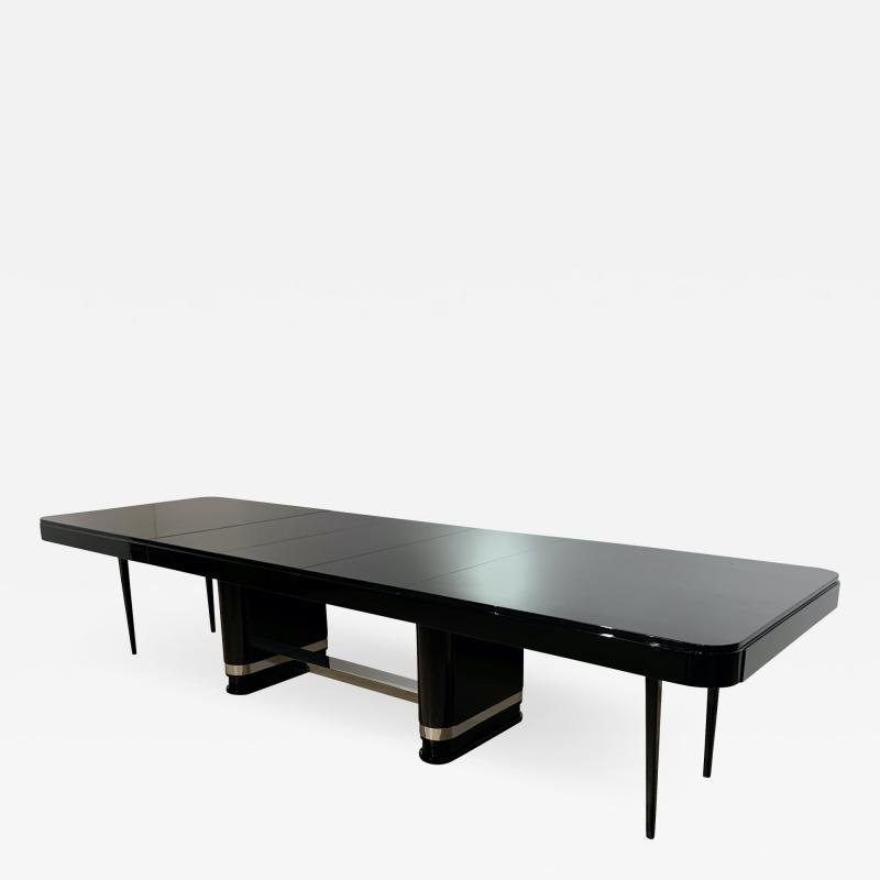 Large Art Deco Expandable Table Black Lacquer and Metal France 1930s