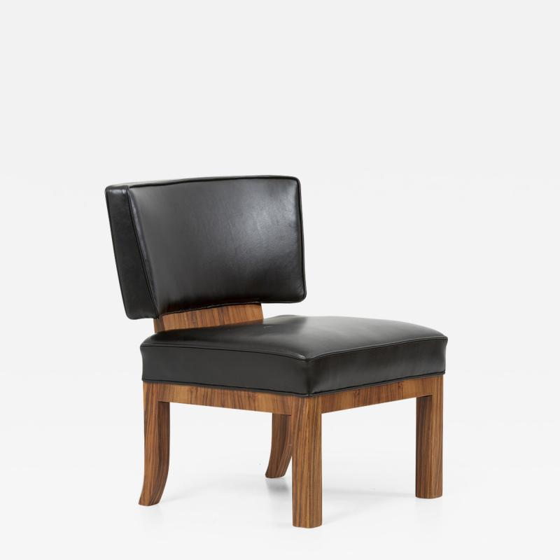 Large Art Deco Lounge Chair in Walnut and Leather France 1930s