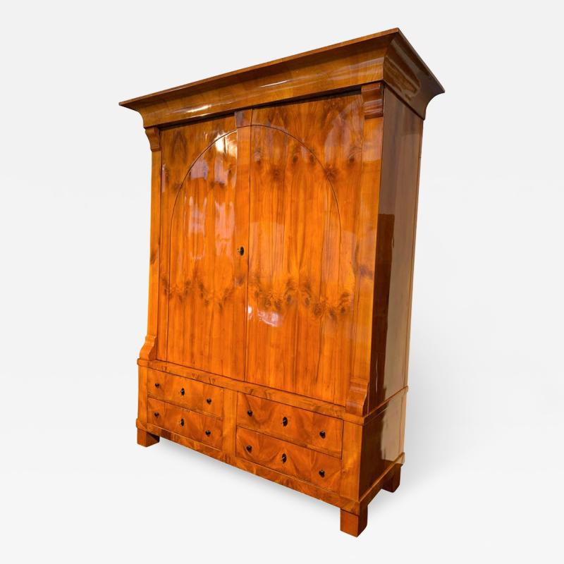 Large Biedermeier Armoire Cherry Veneer Rhineland Germany circa 1820