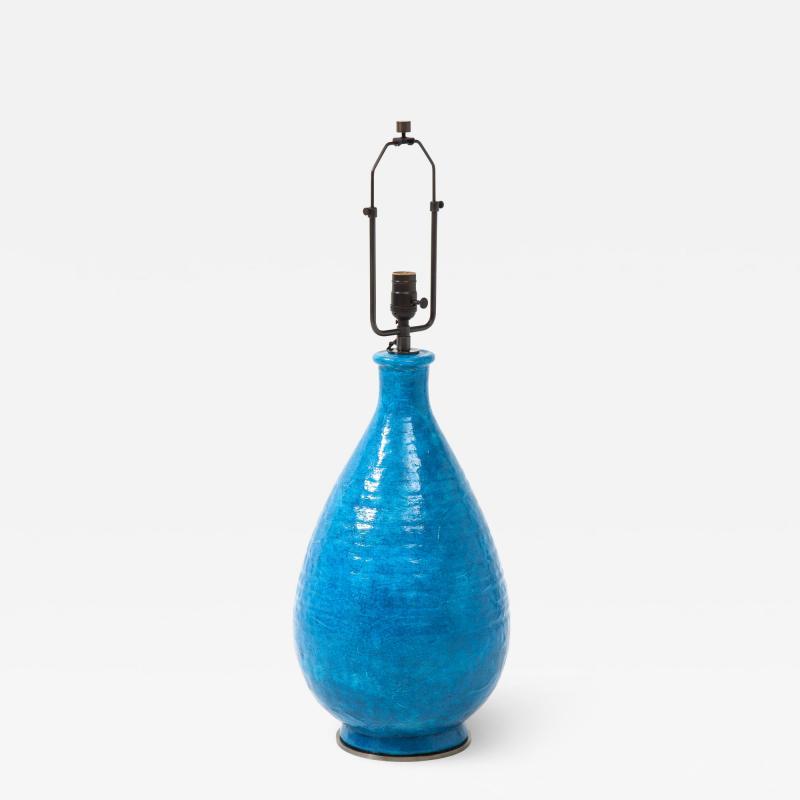 Large Blue Vintage Italian Ceramic Table Lamp circa 1960s