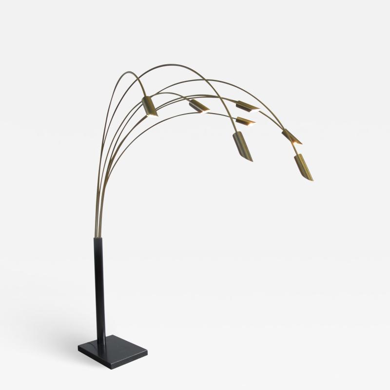 Large Brass Arc Floor Lamp Italy 1970s