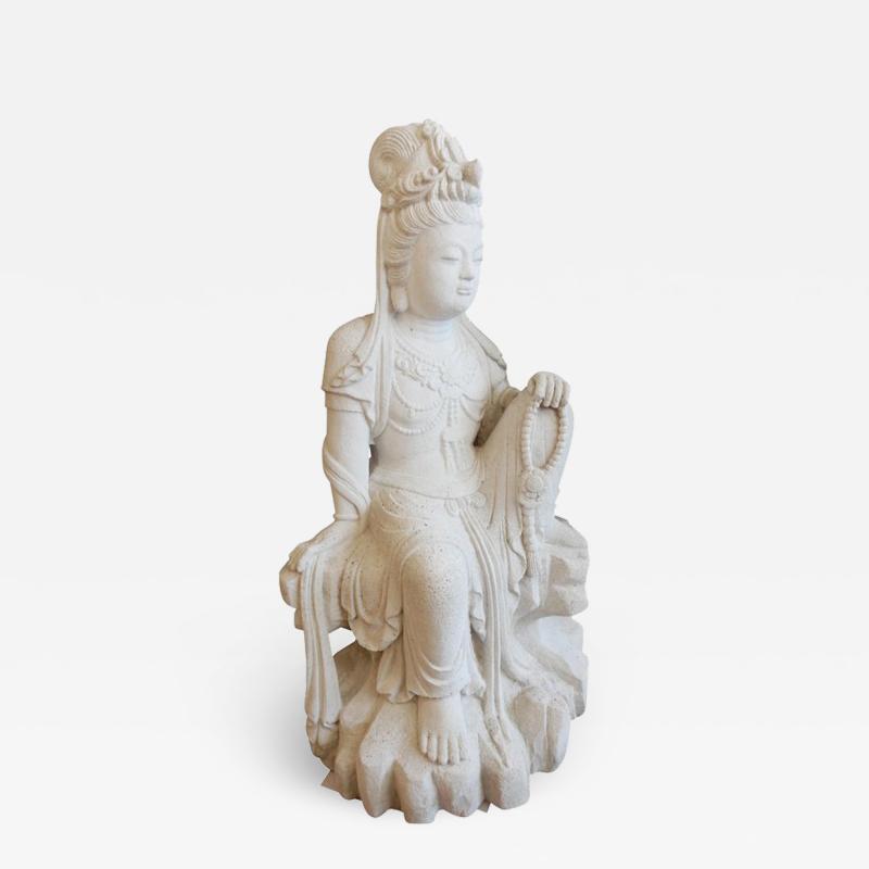 Large Burmese Guan Yin Garden Stone Statue 1920s