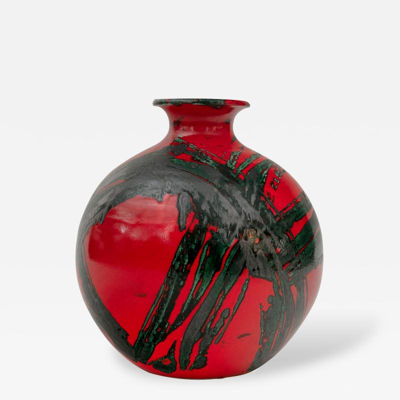 Large Ceramic Midcentury Bulbous Red Vase