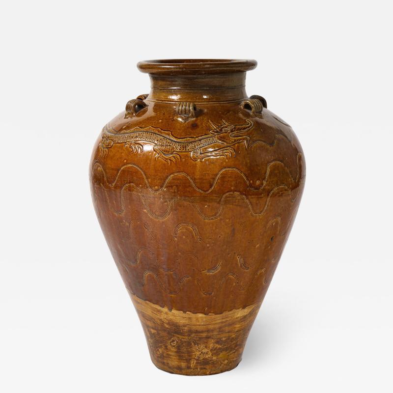 Large Chinese Martaban Ming Dynasty Stoneware Storage Vase with Dragons