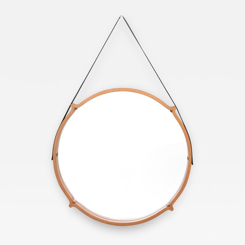 Large Circular Teak Italian Mirror With Leather Strap Hanger