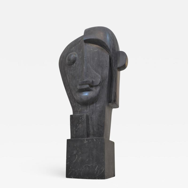 Large Cubist Sculpture in Blue Stone in the style of Picasso 1930s