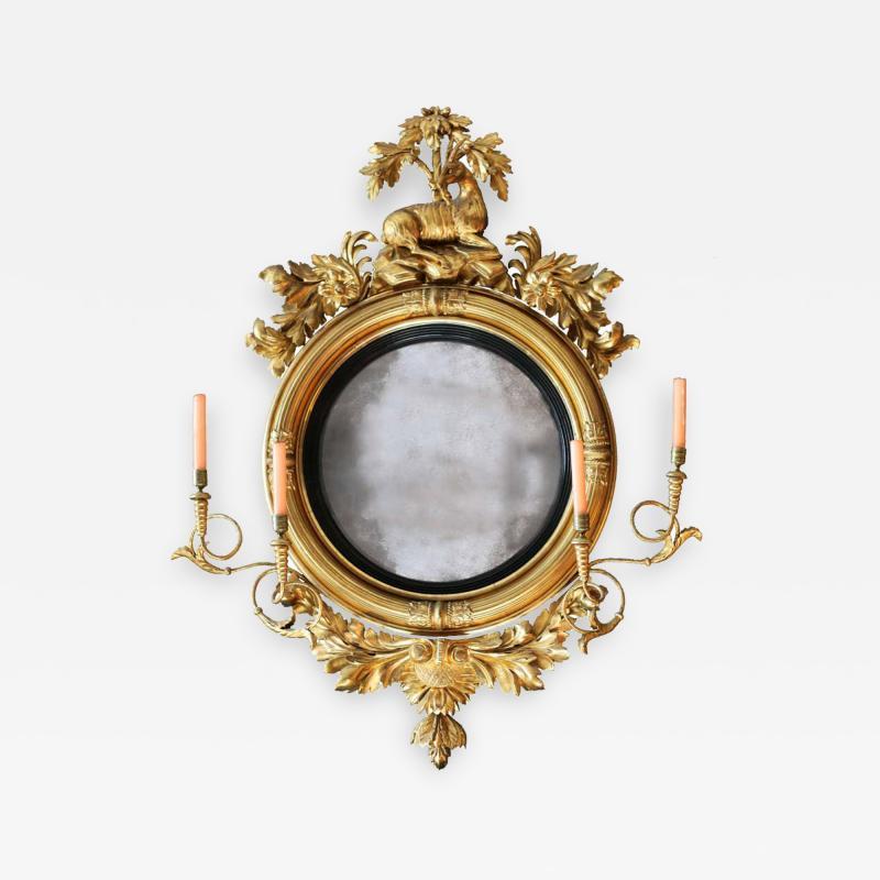 Large Early 19th Century American Regency Girandole Looking Glass