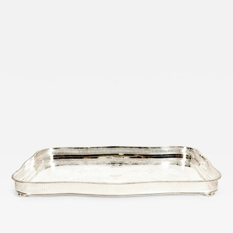 Large English Sheffield Silver Plated Footed Barware Gallery Tray