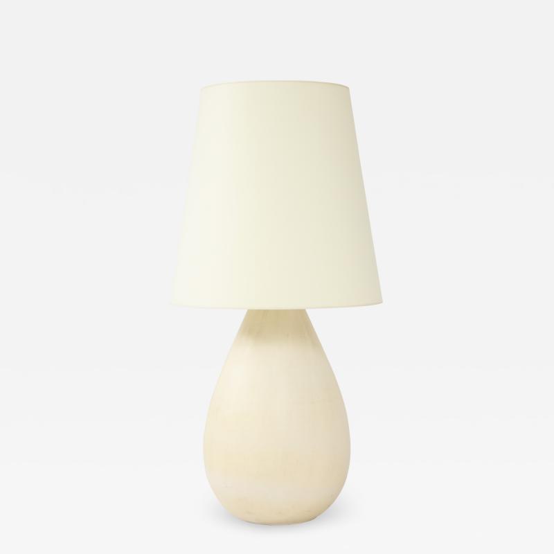 Large European Mid Century Ceramic Lamp w Custom Parchment Shade c 1970 80s