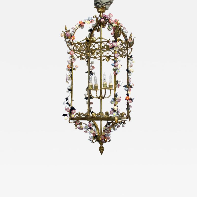 Large French Louis XVI Style Bronze Dor 4 light Lantern with Porcelain Flowers